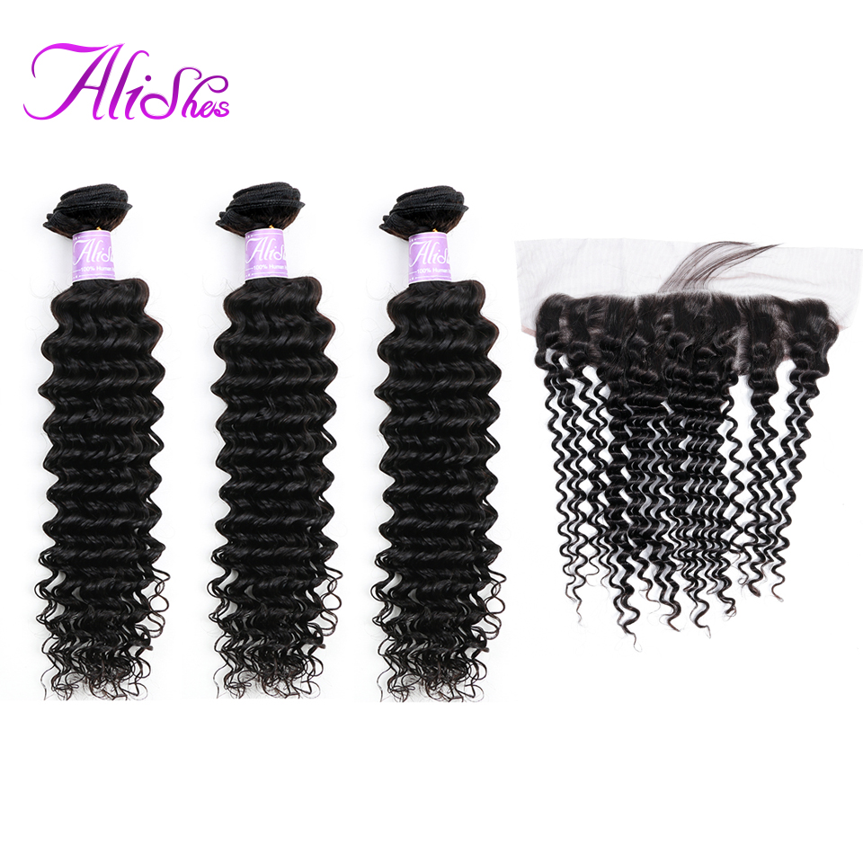 Alishes Hair Brazilian Deep Wave Bundles With Frontal Ear To Ear Human Hair Lace Frontal Closure With Bundles 4PCS/LOT Remy Hair-in 3/4 Bundles with Closure from Hair Extensions & Wigs    1