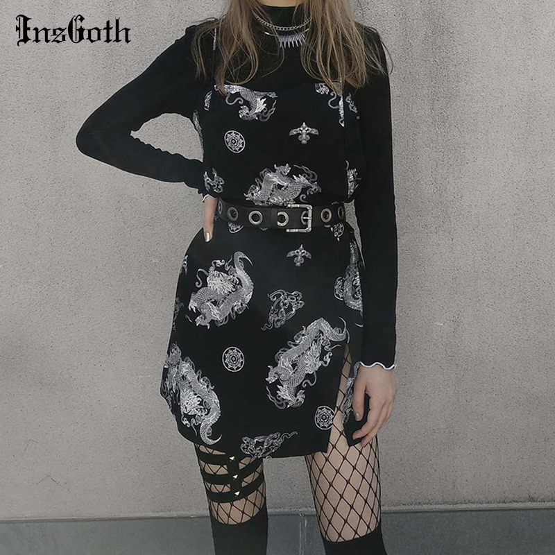InsGoth Dragon Print Vintage Dress Gothic Harajuku Sexy Slim Tight Mini Women Dress Summer Streetwear Sleeveless Short Dress 2