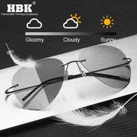 Lunettes de soleil photochromiques sans monture en titane hommes lunettes de soleil pilotes ultra-légères pour la pêche en plein air UV400