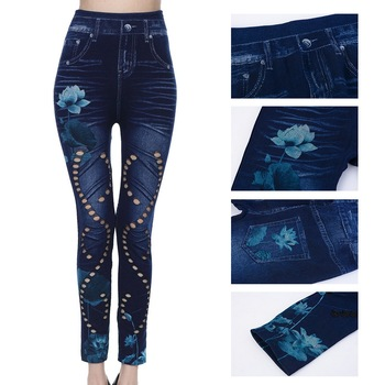 Laamei Fashion Women Leggings Floral Print Pencil Pants Leggins 2019 3XL Plus Size High Waist Hollow Out Faux Denim Leggings faux sapphire alloy hollow out floral barrette
