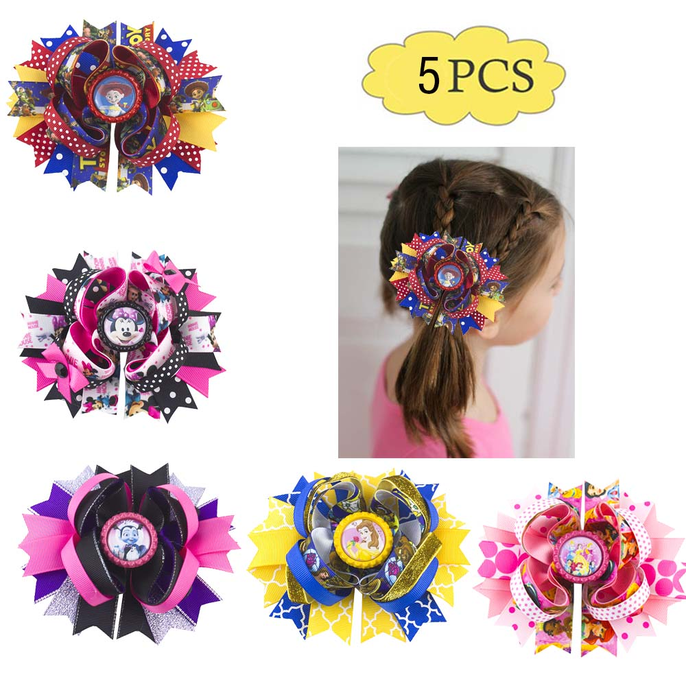 Free Shipping 5pcs  5.5'' Inspired Hair Bows Popular Character Hair Bow With Lined Clips Bouqiue Girl Hair Bows B
