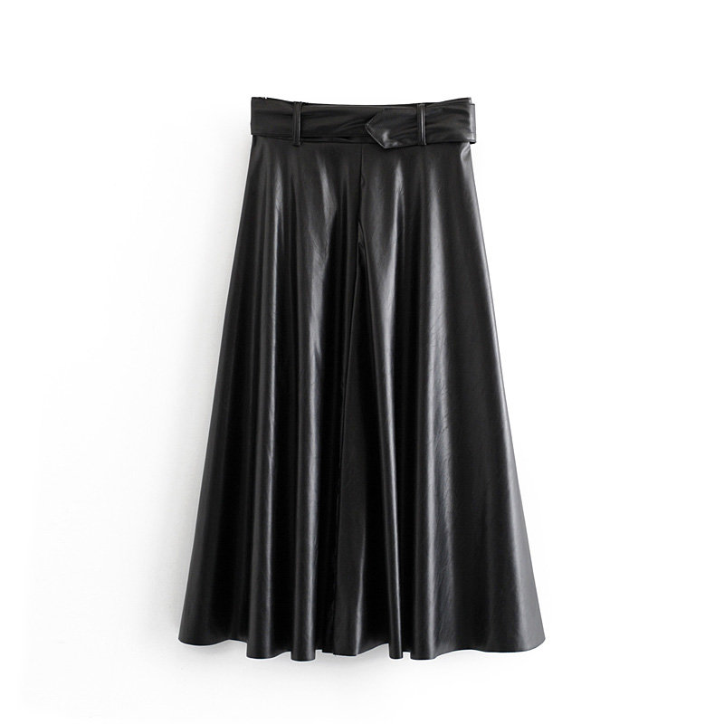 Image 4 - 2019 New Fashion Women Autumn Winter PU Faux Leather Skirts Lady High Waist A line Midi Mid calf Maxi Long Black Skirt With Belt-in Skirts from Women's Clothing
