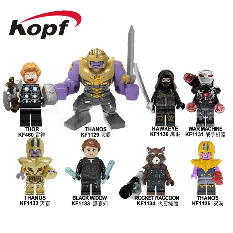 Building Blocks The Avengers 4 INFINITY WAR Thor Hawkeye War Machine Thanos Black Widow Figures For Children Model Toys KF6091 image