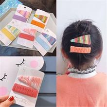Kids Children Girls Elastic Hair clips Sets Korean Colorful Fabric Cute Fall Winter Head wear Accessories-SWD-W7