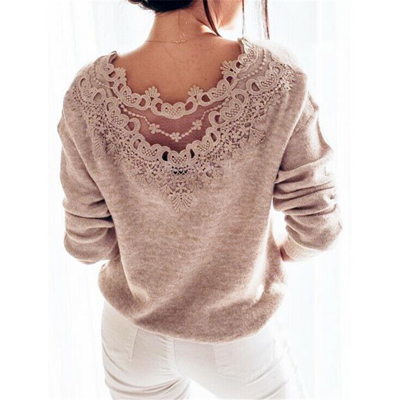 Autumn Women Clothes Sexy Elegant Lace Stitching Backless Pullover Woman Sweater Long Sleeve Jumper Top Knitted Sweater Bodycon