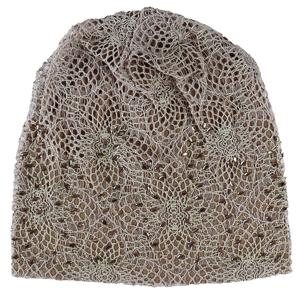 Women Casual Rhinestone Studded Lace Hollowed Out Turban Hat Hair Loss Chemotherapy Cap Knitting Thin Sleeping Cotton Blend Wrap