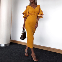 Summer Yellow Long Party Dress Bodycon Ruffles Short Sleeve Sexy V Neck High Waist Women Evening Dinner Elegant Dresses Maxi genuo women long dress autumn long sleeve vestidos 2018 celebrity party dresses elegant ruffles slash neck irregular maxi dress