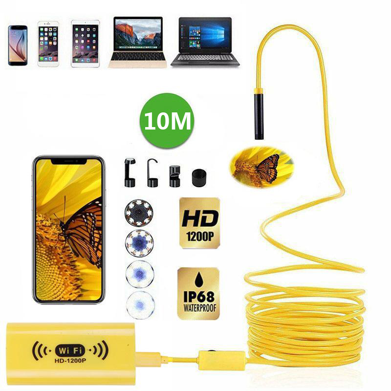 WIFI Endoscope Camera HD 1200P 10M Mini Waterproof Hard Wire Wireless 8mm 8 LED Borescope Camera for Android PC IOS Endoscope image