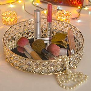 Image 5 - Porta sobremesas redondo de cristal, bandeja de vanidade de cupcake, decoração de casamento para perfume, joias e maquiagem estilo nórdico