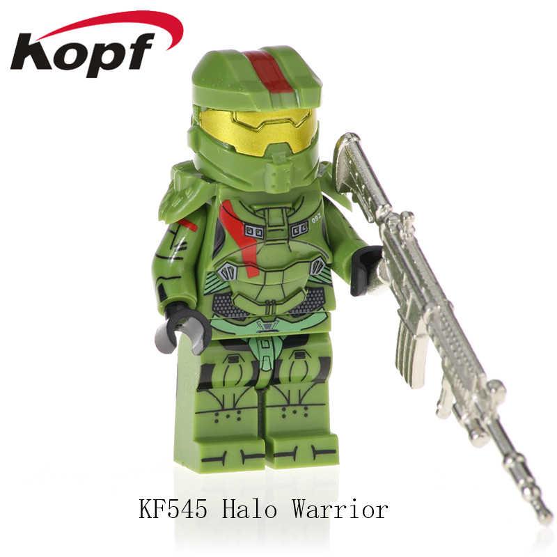 Jedna sprzedaż KF545 działania małe figurki Halo Spartan żołnierz z prawdziwego metalu broń Building Blocks prezent dla dzieci zabawki dla dzieci KF6043