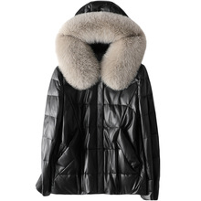 New Classic Leather Sheepskin Down Jacket Autumn Winter Fox Fur Hooded Black Coat Female with Pockets Casual Warm Soft Clothing