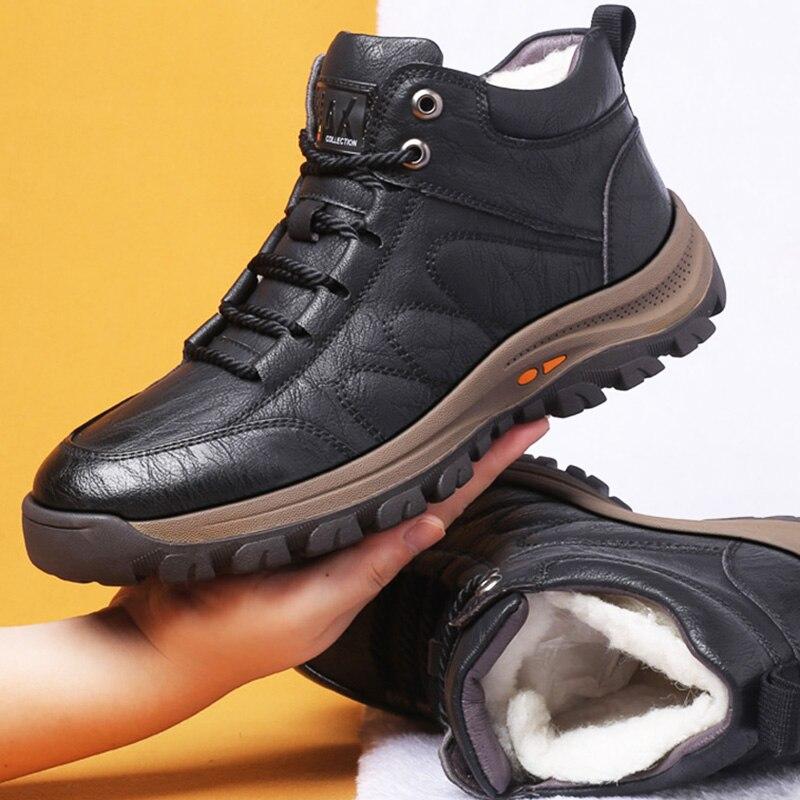 Мужские зимние ботинки с шерстяным мехом, Уличная Повседневная обувь на толстой композитной подошве, Дизайнерские ботильоны из воловьей кожи с прострочкой, M86917|Ботинки| | АлиЭкспресс