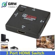 Grwibe HD 3 eingang 1 Ausgang Mini 3 Port HDMI Switch Buchse auf Buchse Switcher Splitter Box Selector für HDTV 1080P VIdeo Switcher