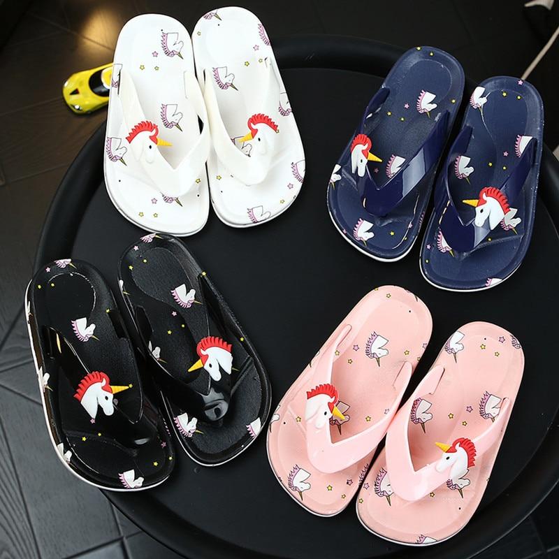 Kids Unicorn Flip Flops Girls Cartoon Outdoor Slippers Toddler Non-Slip Home Shoes Summer Boys Casual Beach Shoes Zapatillas