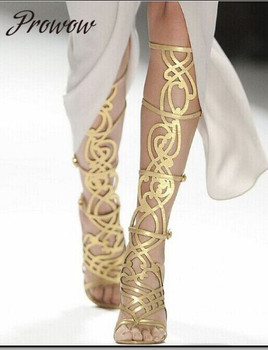 Prowow New Summer Gold Gladiator Cutout Narrow Band HIgh Heel Sandals Open Toe Knee HIgh Thin High Heel Sandals Shoes Women