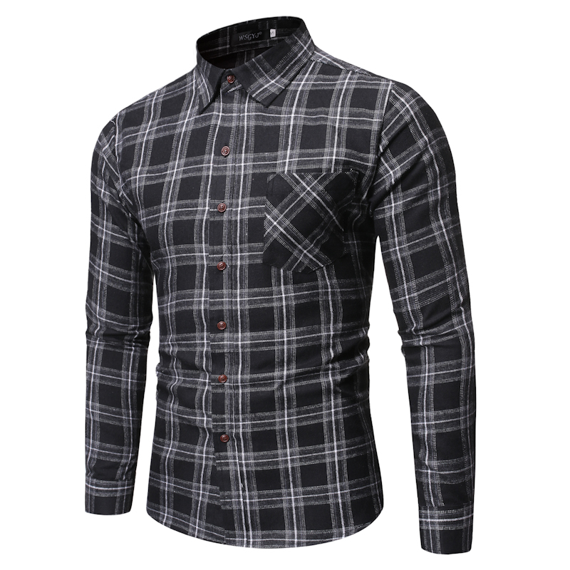 Casual Plaid Shirt Men 2019 Fashion Lapel Long Sleeve Shirts IT Man Classic Wild Cotton Hip Hop Streetwear Business Dress Shirt