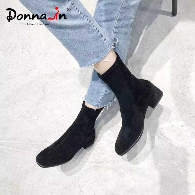 Donna-in 2019 sonbahar kış kadın çizmeler hakiki deri rahat süet streç sıcak peluş orta buzağı çizmeler Med topuklu bayan ayakkabıları