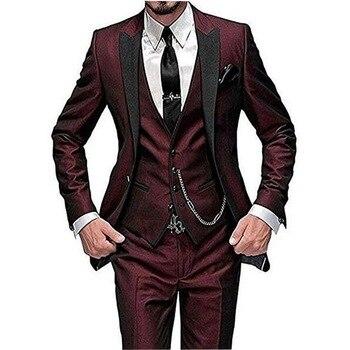Wine Red Italian Style Colorful Tuxedo Groom Prom Pink Dress Wedding Dress Elegant Slim Men's Suit Set 3 Piece(Jacket+Pant+Vest)