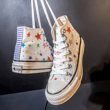 Casual Shoes Fashion Sneakers High-Top Stars Summer Women's Girls Canvas with Colorful