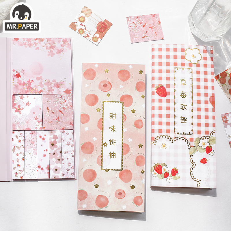 Mr.Paper 240pcs/lot 4 Designs Japanese Pink Cherry Fruit Strawberry Girlish Memo Pads Notepad Diary Writing Note Down Memo Pads