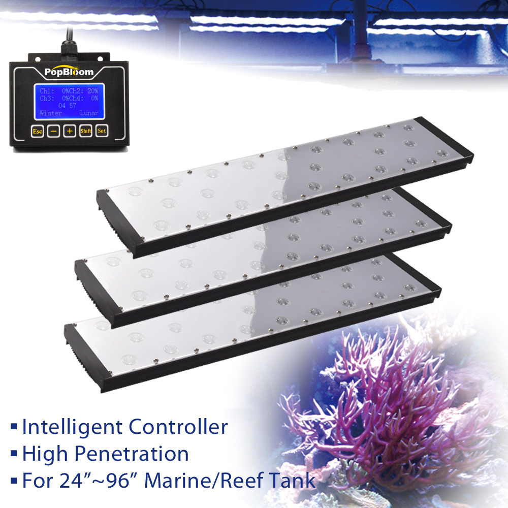 PopBloom Led Aquarium Lamp Fixtures Aquarium Lighting Light For Aquarium Led+lighting Marine Coral Reef Led Fishing Smart Light