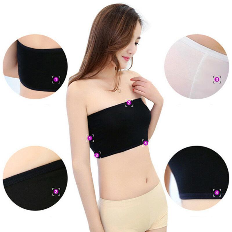 Hirigin Fashion Womens Ladies Sports Tube Tops Bra Breathable Bandeau BoobTube Crop Top Black White Bra Free