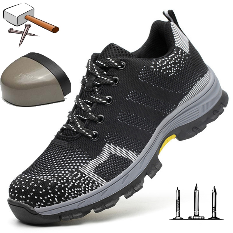 Steel Toecap Mens Casual Shoes Outdoor Breathable Summer Work Safety Shoes Men Sneakers Air Mesh Shoes