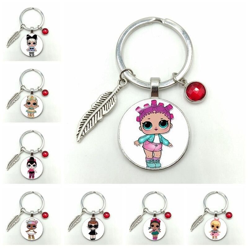 Cartoon LOL Doll Alloy Keychain Cute Baby Flash Princess Dress Doll Glass Convex Round Gem Keychain Anime Children Birthday Gift