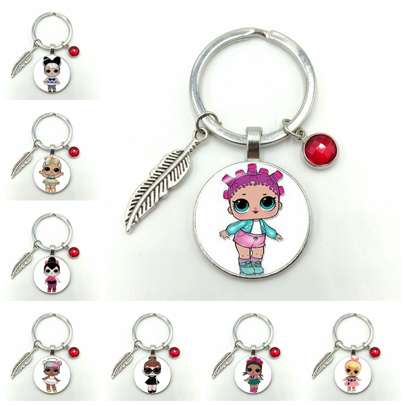 Cartoon LOL Doll Alloy Keychain Cute Baby Flash Princess Dress Doll Glass Convex Round Gem Keychain Anime Children Birthday Gift