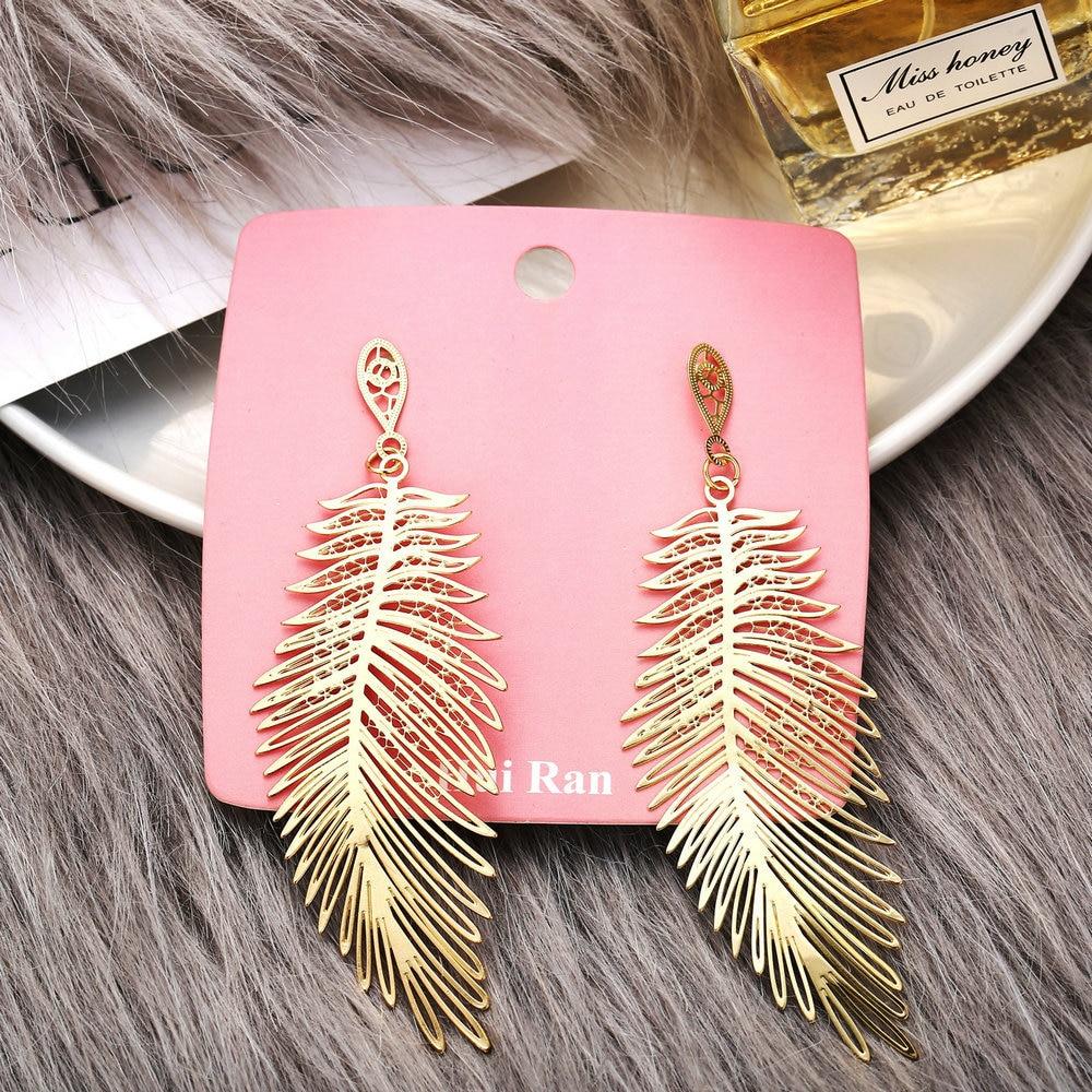 Modyle 2020 Fashion Bohemian Long Earrings Unique Natural Real Leaf Big Earrings For Women Jewelry Gift oorbellen pendientes