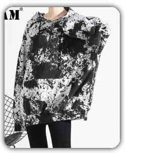 [EAM] 2020 New Spring Lapel Long Sleeve Solid Color Black Gray Split Joint Loose Big Size Jacket Women Fashion JC969 20