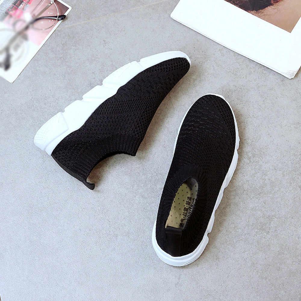 Kadın spor ayakkabılar dış mekan teli ayakkabı kadın üzerinde kayma rahat rahat tabanı koşu spor artı boyutu çorap ayakkabı Dropshipping