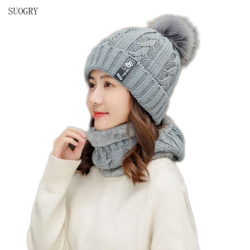 SUOGRY 2019 New Winter Thicker Hat Scarf Sets For Adult Knitted Cotton With Cute Ball Top Quality Keep Warm Women Caps & Scarves