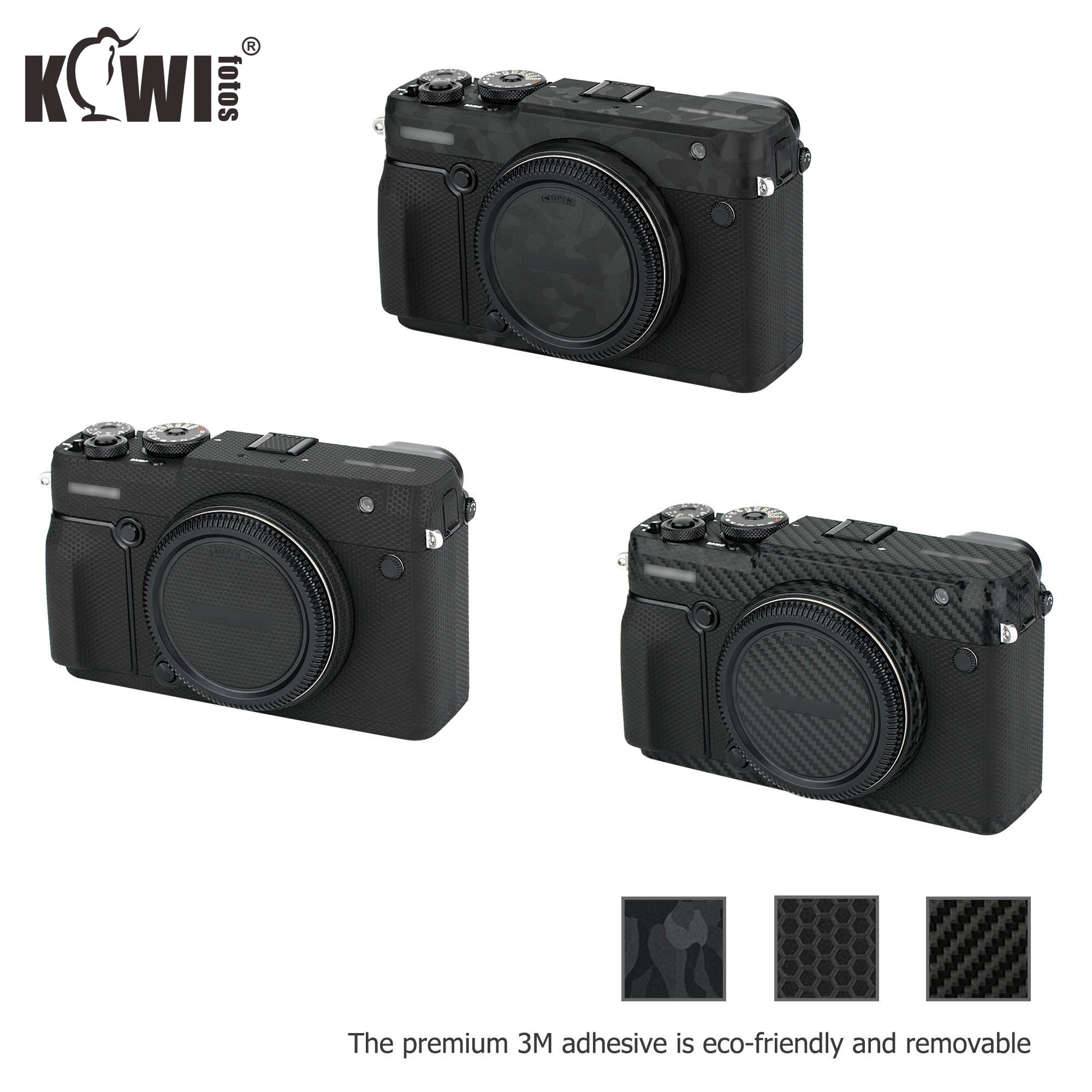 Kiwi Anti-Scratch Camera Body Sticker Protective Skin Film Kit for Fuji Fujifilm GFX 50R Anti-Slide Skin Cover Shadow Black