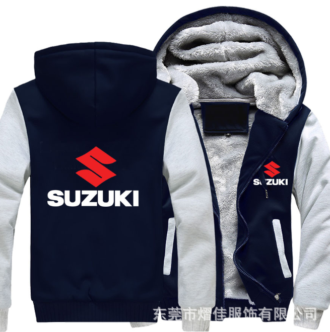 2020New High quality SUZUKI Hoodies Jacket Winter Men Fashion Casual Wool Liner Fleece Sweatshirts Pullover Man Coat