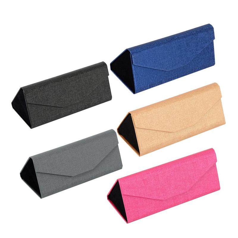 Simple Foldable Triangular PU Leather Hard Case For Glasses Eyeglass Box Sunglasses Lens Container Box Purse Eyewear Accessories