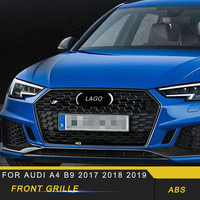 For Audi A4 S4 B9 2017 2018 2019 Car Front Hood Middle Net Bumper Grills Grille Frame Cover Trim Exterior Accessories