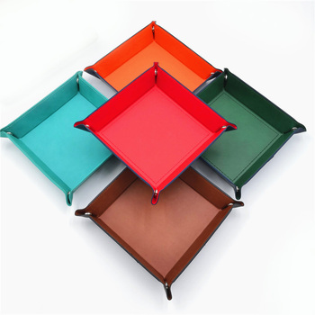 7 Kinds Colors PU Leather Folding Square Dice Tray Portable Quadrilateral Dice Box For Board Games Dice Storage