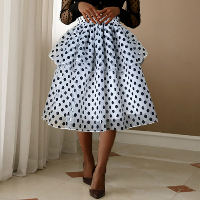 Women Black Polka Dot Tutu Skirts Lolita High Elastic Waist Mesh Cute Female Jupes Falad Elegant Fashion Spring Summer New 2020