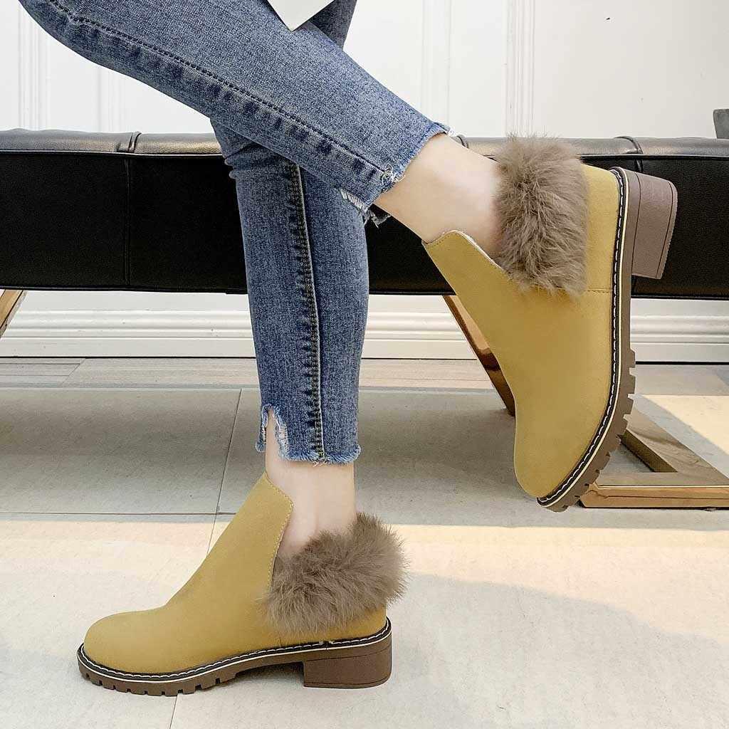 Kadınlar kalın topuk artı kadife bileğe kadar bot yuvarlak kafa kışlık botlar düz renk tek çizme rahat iş ayakkabısı chaussures femme