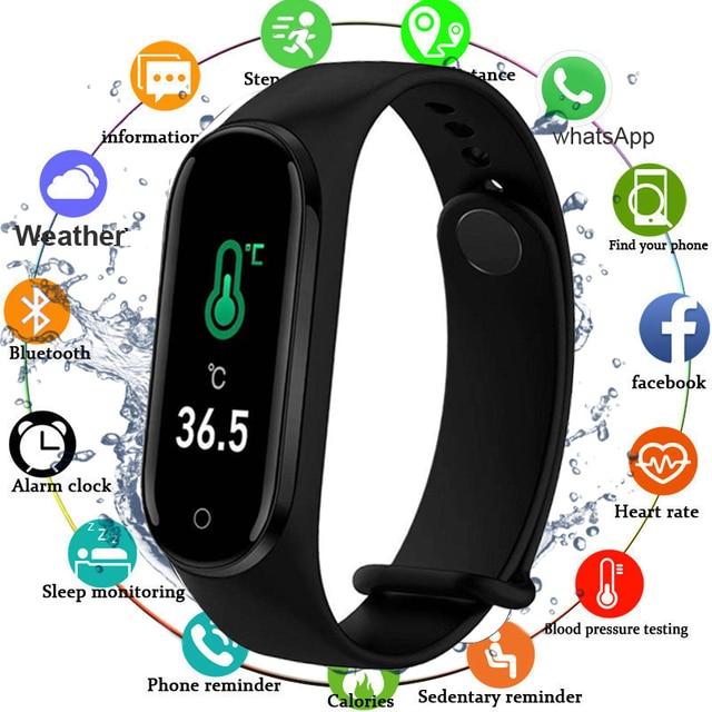 Fitness Bracelet Body Temperature Blood Pressure Smart Bracelet Fitness Tracker Pedometer Smart Band Watch For Men Women Kids