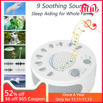 White Noise Machine Portable Baby Sleep Soother Cure Insomnia 9 Soothing Sounds Anti Snore Sleep Aiding with Auto-off Timer