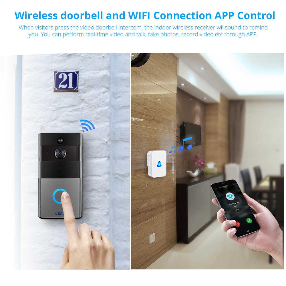 Kerui Tuya Kehidupan Cerdas Nirkabel WiFi Video Intercom Bel Pintu 2MP 1080P Panggilan Telepon Bel Pintu Rumah Keamanan Malam Visi kamera