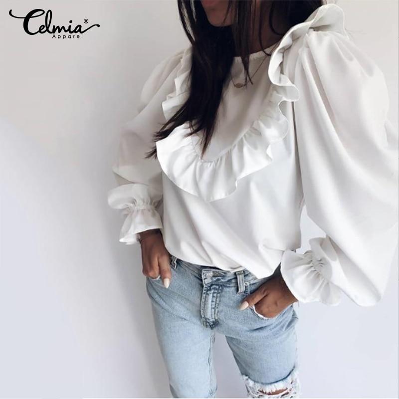 Top Fashion Celmia Elegant OL Women Long Puff Sleeve Blouse Round Neck Ruffles White Shirts Casual Loose Party Blusas Feminina 7
