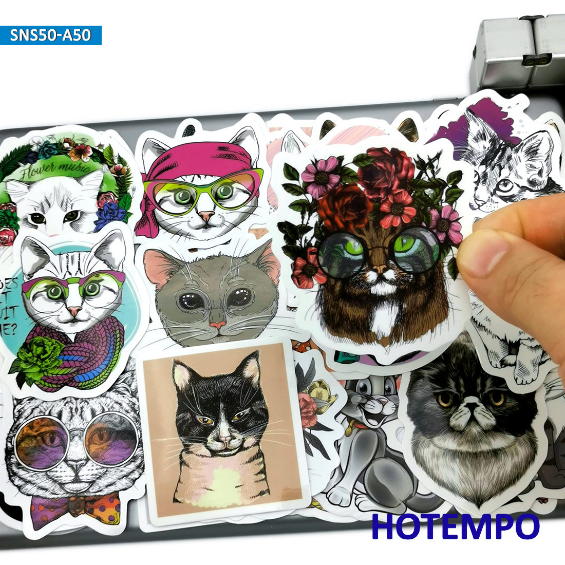 50pcs Anime Cat Dog Style Cute Pets Kitten Puppy Stickers Toy For Kid Mobile Phone Laptop Suitcase Case Skateboard Decal Sticker
