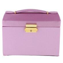 Артифическая кожаная коробка для ювелирных изделий Красота Чехол Держатель хранения Организатор Фиолетовый