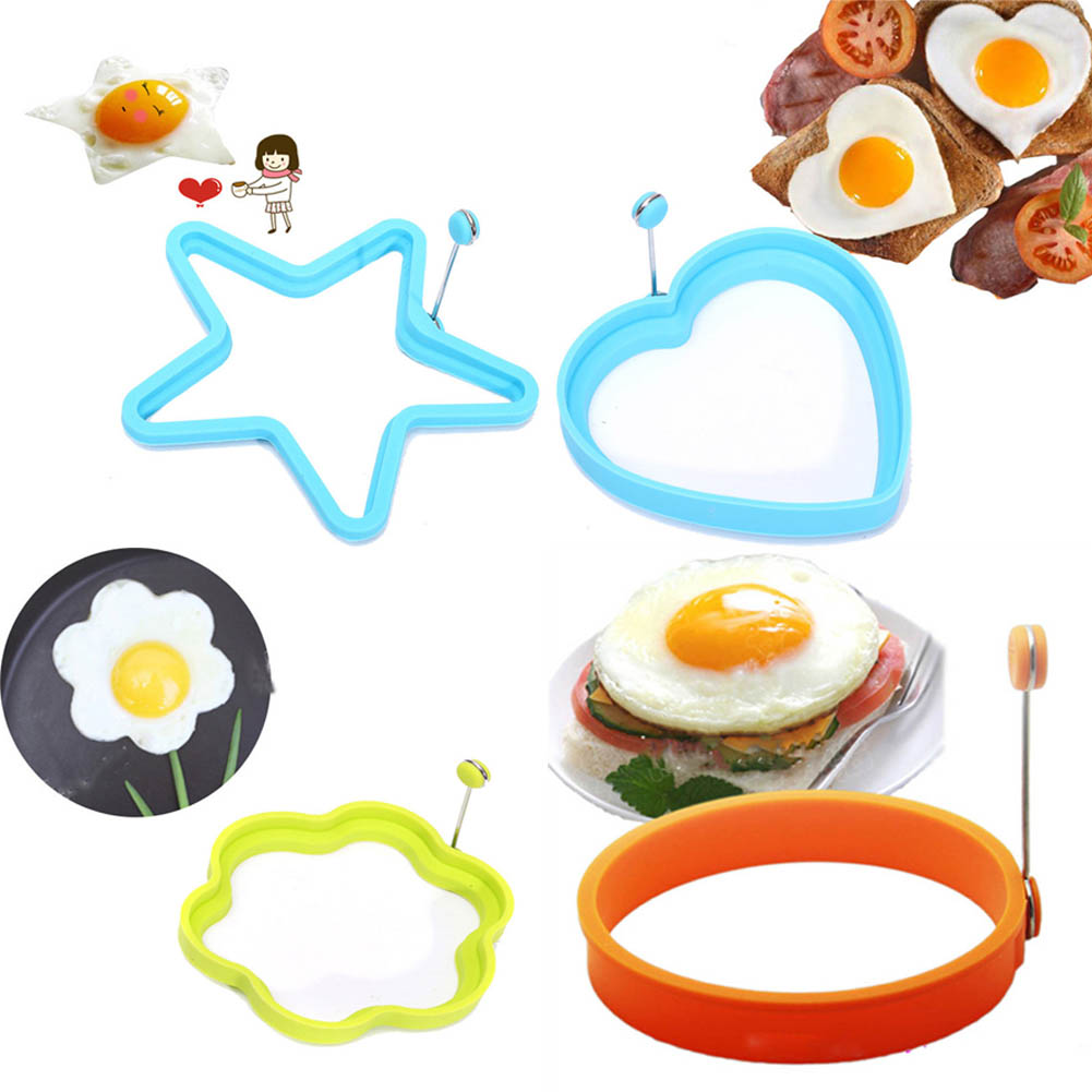 Color Random Silicone Fried Egg Pancake Ring Omelette Fried Eggs Round Heart Shaped Mould for Cooking Breakfast Frying Tools|Egg & Pancake Rings|   - AliExpress