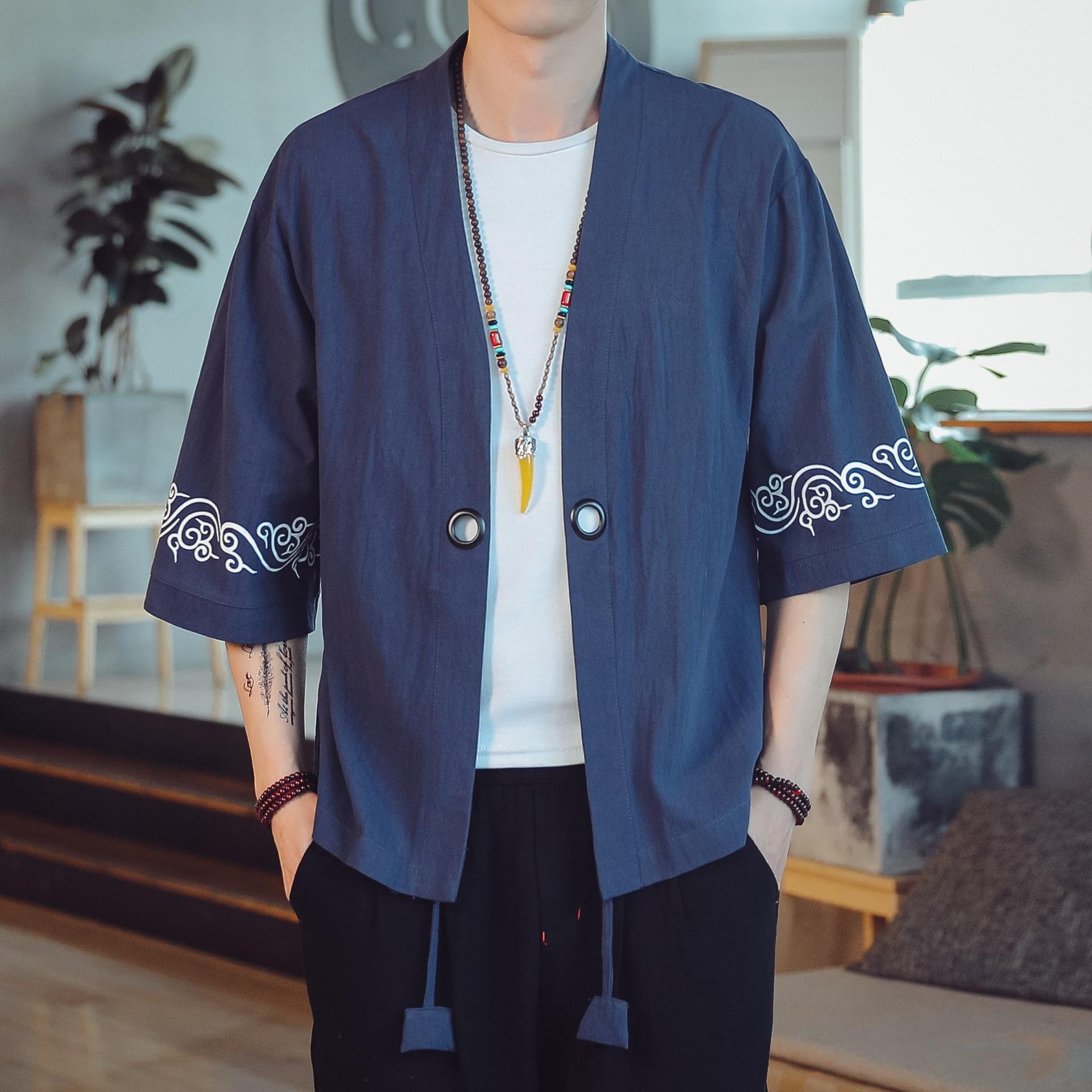 #3917 Cotton Linen Kimono Jacket Men Three Quarter Sleeve Vintage Loose Plus Size 5XL Print Men Kimono Coat China Style Summer