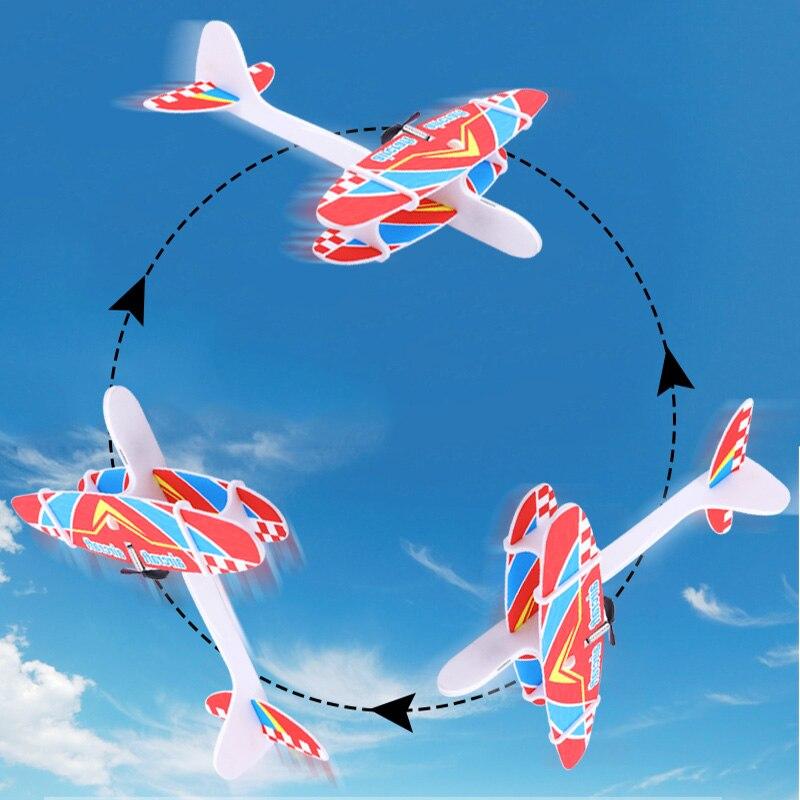 Kid bricolage modèle avion Assemb led planeur électrique EPP mousse main jet avion vol Simulation combattant avec lumière LED jouets de jeu 4