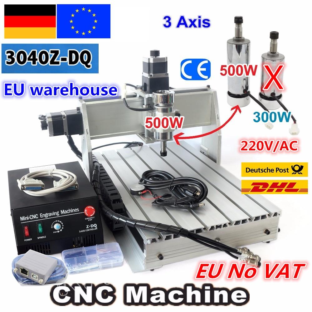 【EU Free VAT】 Desktop 3 Axis USB Mach3 500W 3040Z-DQ Ball Screw 3040 CNC Router ENGRAVER/ENGRAVING Milling Cutting Machine 220V